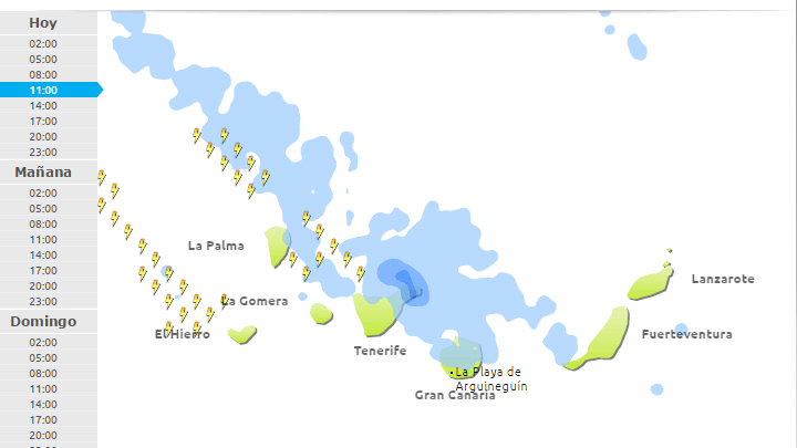 Rain forecast in Gran Canaria from 11 am