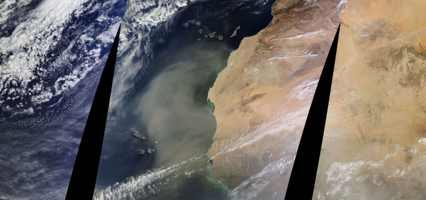 Huge dust cloud south of the Canary Islands
