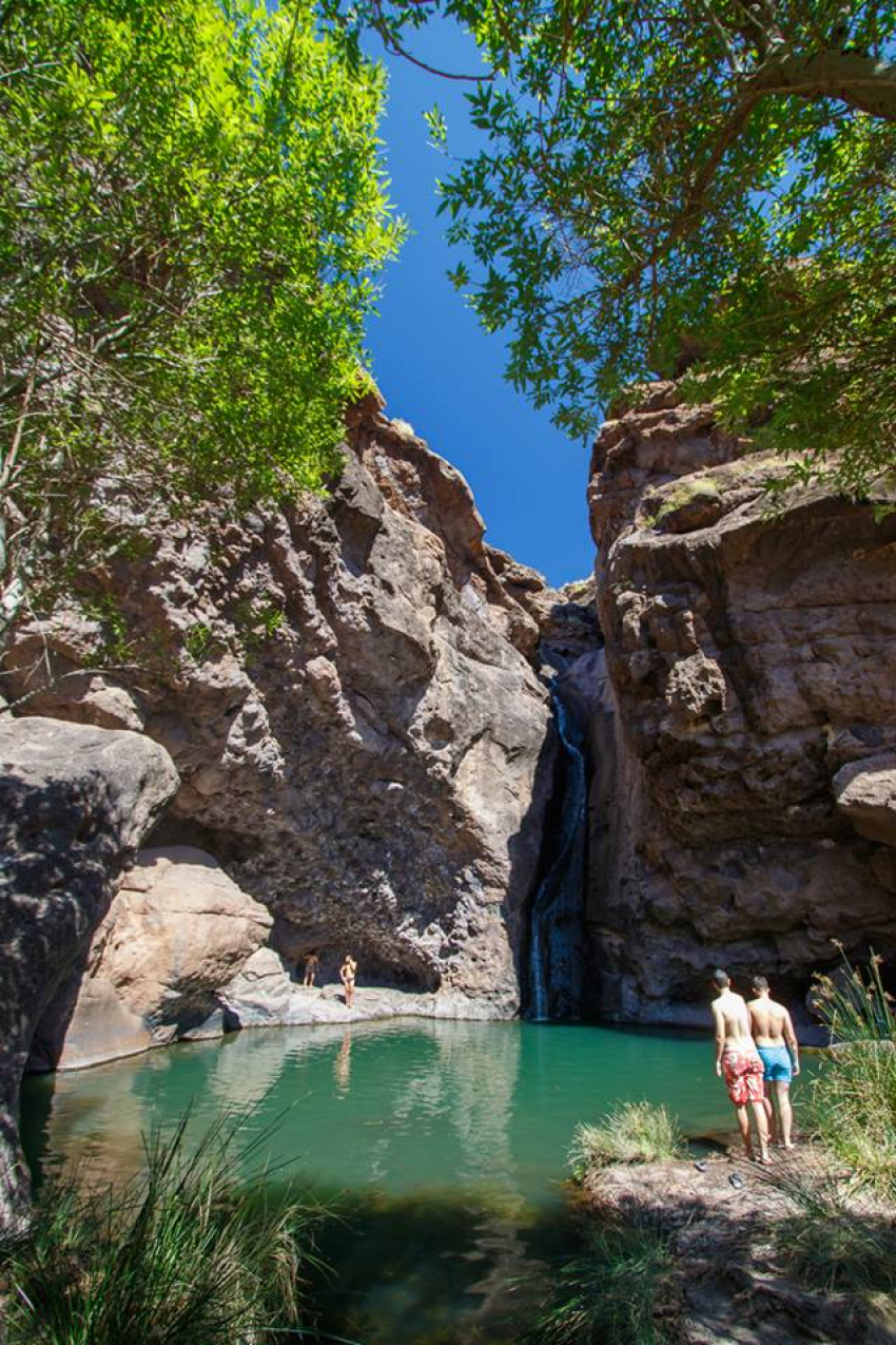 Charco Azul pool at El Risco in the Agaete area of north west Gran Canaria