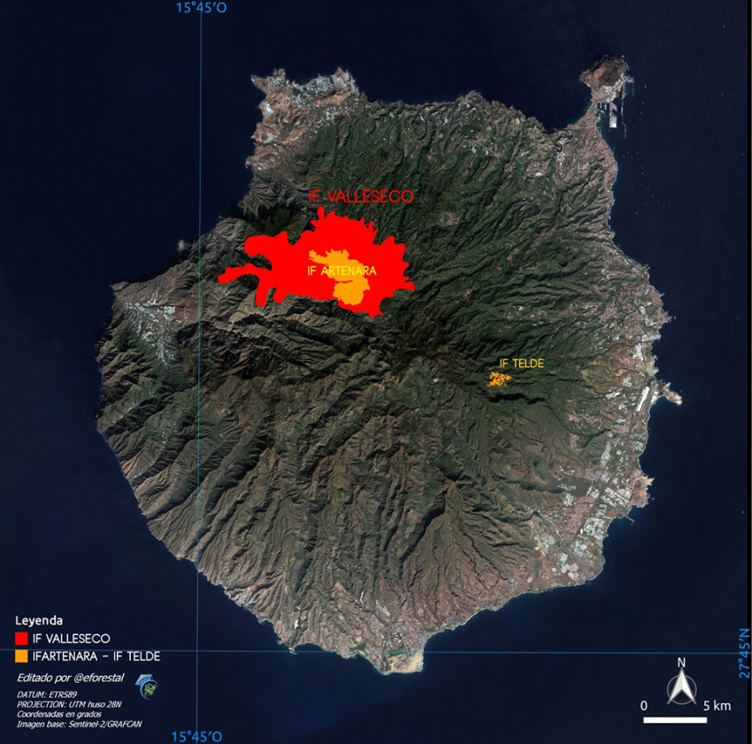 Gran Canaria fire burning out of control and devastating the Tamadaba forest