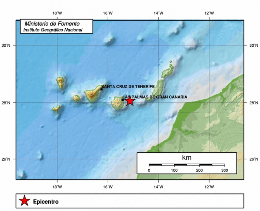 Earthquake recorded in east Gran Canaria